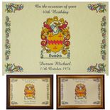 Birthday Family Crest Coat of Arms A4 Print PERSONALISED, ref BFCP